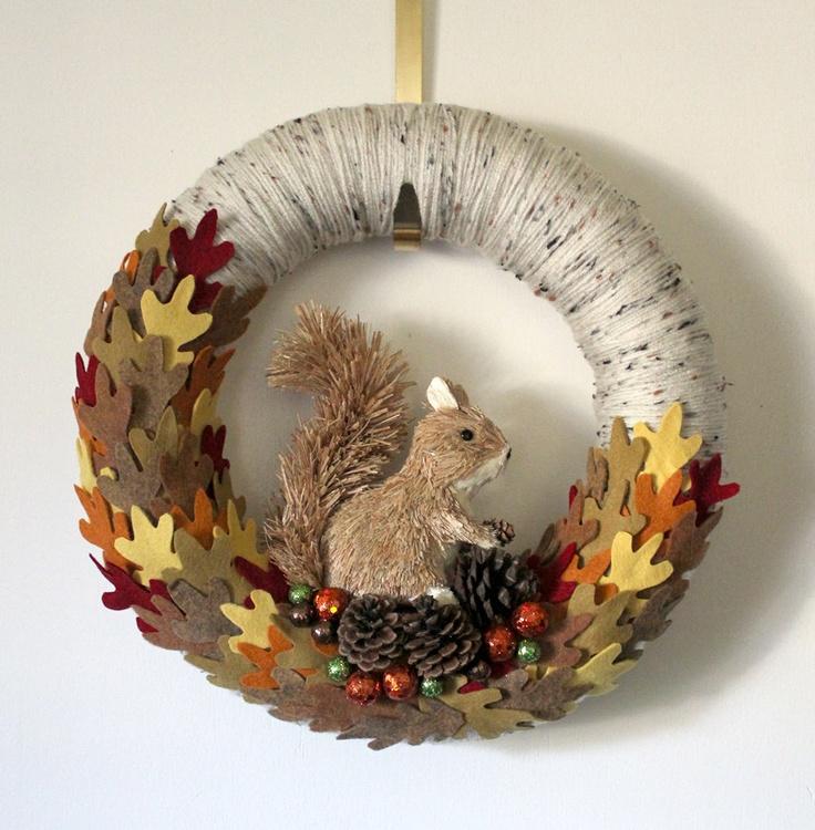 Squirrel Wreath, Autumn Wreath, Fall Wreath, Yarn and Felt Wreath, 14 inch size. $47.00, via Etsy.