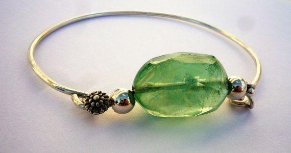 Sterling Silver Cuff Bracelet Gemstone Cuff Bracelet by Iridonousa