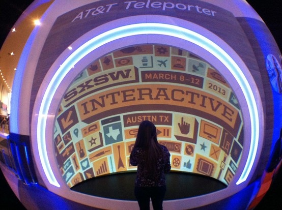 Teleporter at AT lounge at SXSW 2013 - an interactive projection dome with live and recorded cameras.