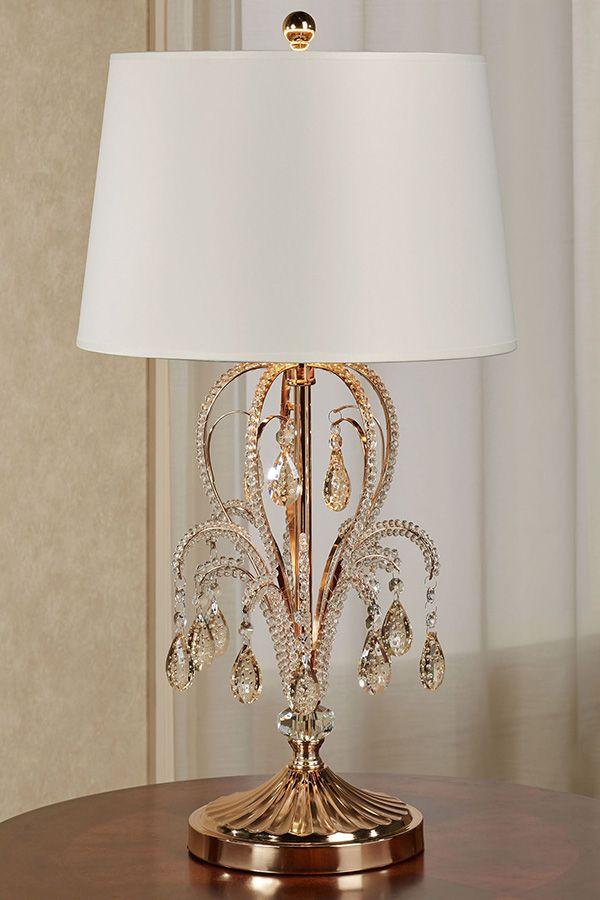 Aurelia Jeweled Gold Metal Candelabra Style Table Lamp Table Lamp Lamp Metal Candelabra