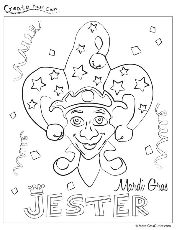 Mardi Gras Jester Coloring Page