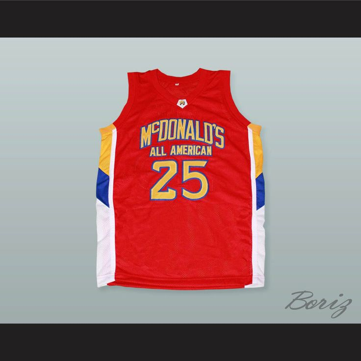 "Derrick Rose 25 McDonald's All American Red Basketball Jersey. STITCH SEWN GRAPHICS  CUSTOM BACK NAME CUSTOM BACK NUMBER ALL SIZES AVAILABLE SHIPPING TIME 3-5 WEEKS WITH ONLINE TRACKING NUMBER Be sure to compare your measurements with a jersey that already fits you. Please consider ordering a larger size, if you prefer a loose fit. HOW TO CALCULATE CHEST SIZE: Width of your Chest plus Width of your Back plus 4 to 6 inches to account for space for a loose fit. Example: 18"" wide chest plus 18""…"