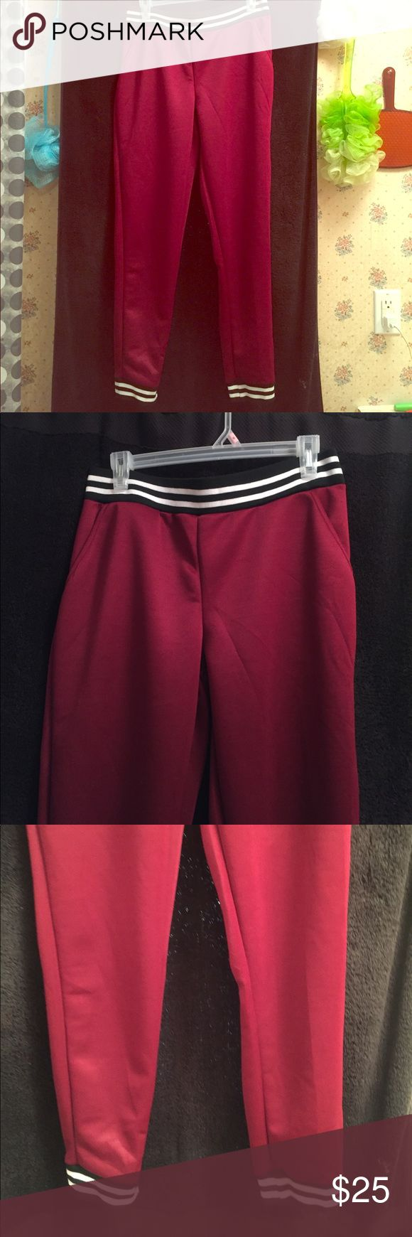 Burgundy black and white Joggers Size L Pants Track Pants & Joggers