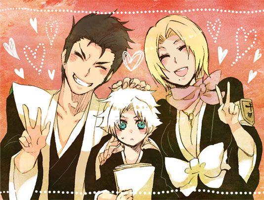Captain Isshin Shiba, Toushirou Hitsugaya, and Rangiku Matsumoto. The former Tenth Division were so cute together!