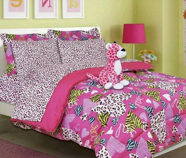 Girls Twin Comforter Set Bedding Minto Pink Bed In A Bag Cheetah Animal  Print