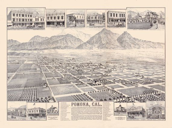 1886 map of Pomona California detailed description of historic buildings https://www.etsy.com/listing/166209377/vintage-map-pomona-california-1886 #Pomona