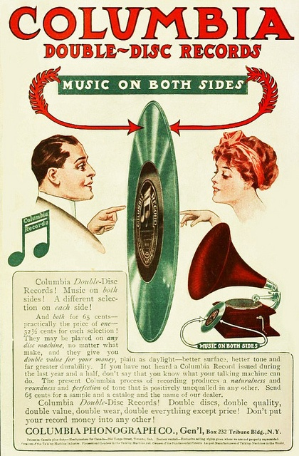"Columbia Double-Disc Records vintage ad, 1910. ""Music On Both Sides!"""