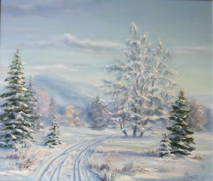 Winter landscape by Lidia Olbrycht / Lidia PaintingArt