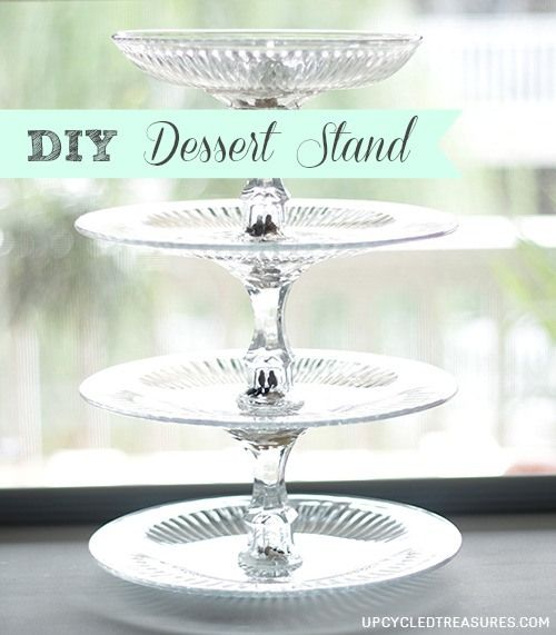 How to make a DIY 4-tier Dessert Stand for less than $10 using items from the Dollar Store. You could also use what you have on hand or find at a thrift or antique shop. http://upcycledtreasures.com/2013/08/diy-4-tier-dessert-stand/ #DIY #Dessertstand #upcycle