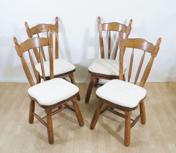 4 Stühle Eichenstühle Holzstühle Eiche heller Bezug Küchenstühle Esszimmer in Möbel & Wohnen, Möbel, Stühle | eBay!