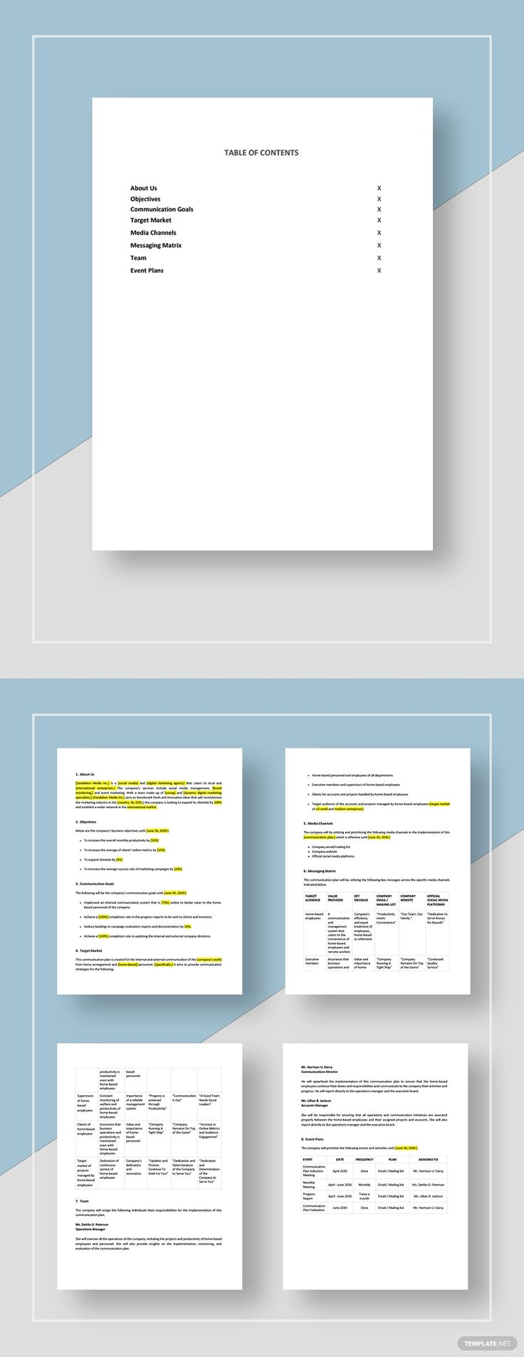 Work From Home Communication Plan Template AD, ,