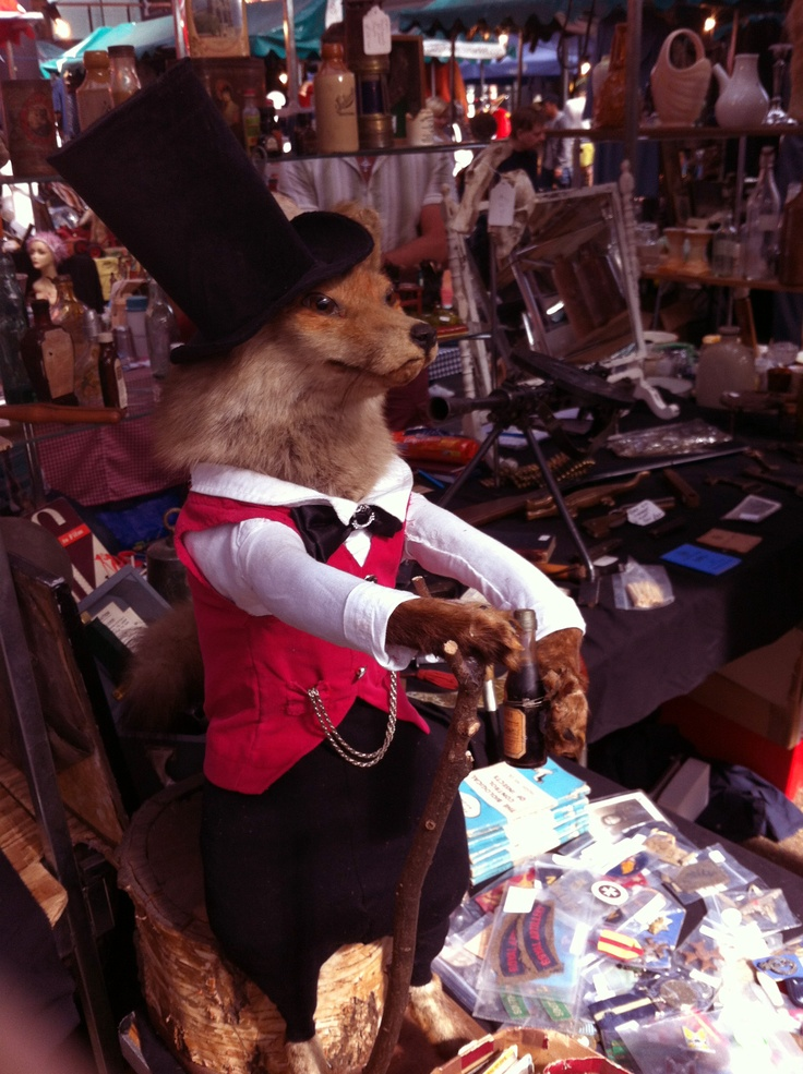 A well-dressed taxidermy fox as seen in Spitalfields Market, London.