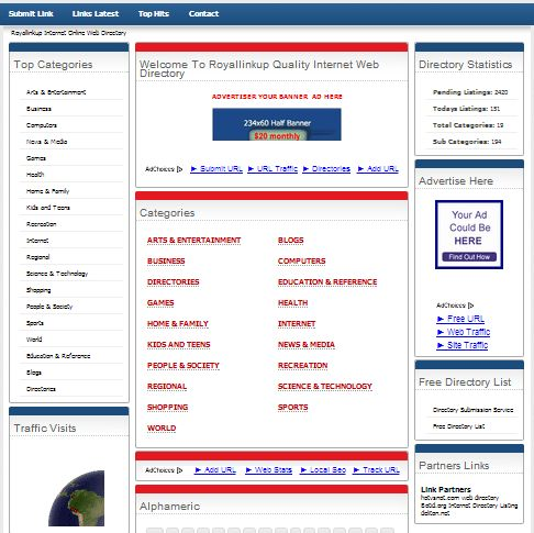 A new website has been added to our directory:  Category: Web Directories, Website Name: Royallinkup Online Web Directory, Link: http://www.royallinkup.com/, Description: The premium, powerful Web Directory Listing, Online Directory Url Link Submission Human-edited to ensure high quality. Submit your site today.