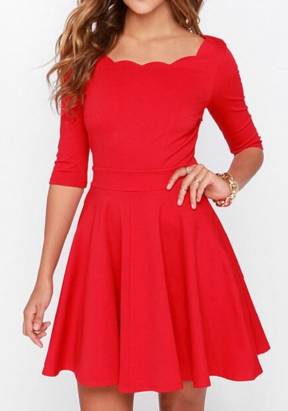 Red Plain Draped Wavy Edge Boat Neck Elbow Sleeve Dress