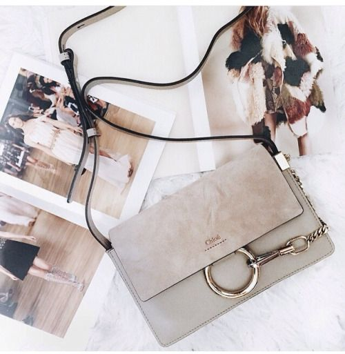 Santa, Pleeaase!!!❤️ gorgeous ❤️ 70's inspired ~ Chloè Faye small shoulder|crossbody bag ~ grey ~ suede ~ metal ring & chain ❤️