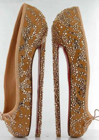 Louboutin ballet stilettos: for an auction to benefit the English National Ballet--not for walking!: Shoes, Fashion, Christian Louboutin, High Heels, Ballerina, Walk, Ballet Shoe, Christianlouboutin