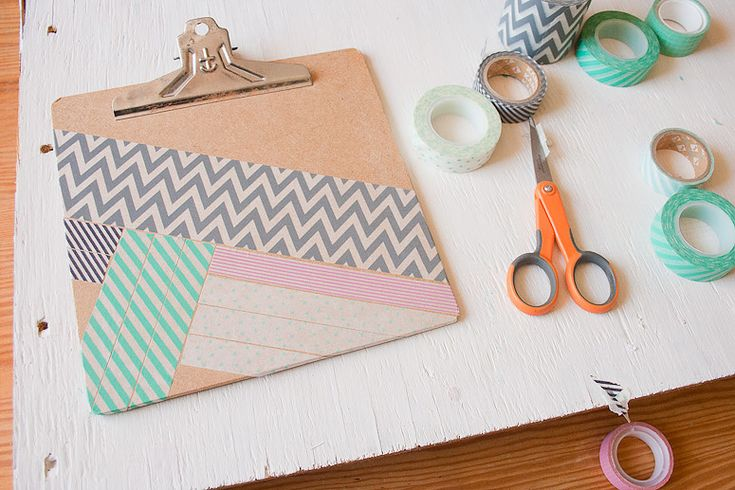 DIY - Snazz Up a Clipboard with Washi Tape at Callaloo Soup - Add a Pop of Pink