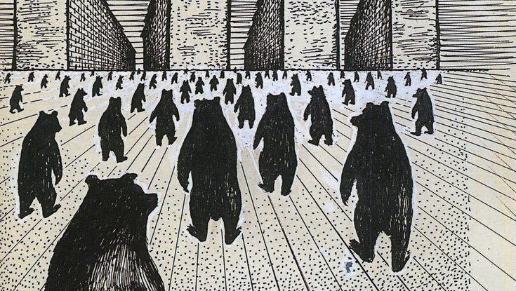 Юло Соостер . [Медведи] [Все по домам...]. Бумага, тушь, перо, шариковая ручка, гуашь. Фрагмент. Собрание Альберто Сандретти