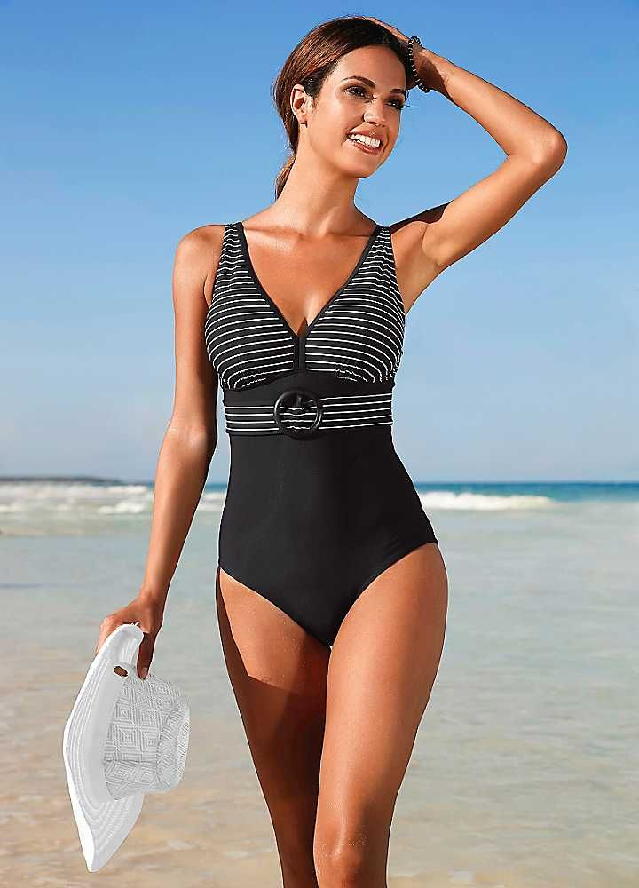 Black Striped Shaper Swimsuit by bpc bonprix collection