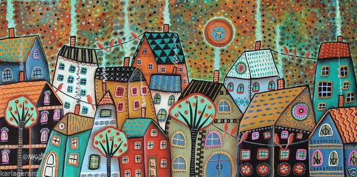 Red Birds CANVAS PAINTING houses landscape 24x12 ABSTRACT FOLK ART Karla Gerard.. new painting, available in my store, click link or painting photo below...lots of detail... #FolkArtAbstractPrimitive