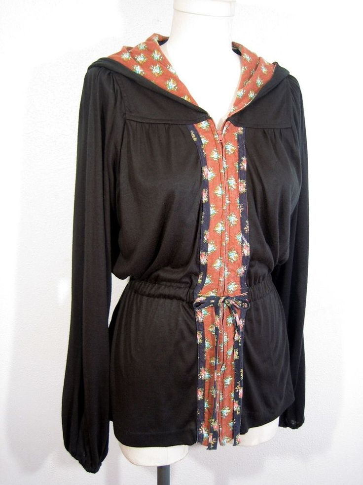 Vintage 1970's BOHO HOODIE TOP Blouse Hippie Shirt Peasant Sweater Just Tops  #JustTops #Casual