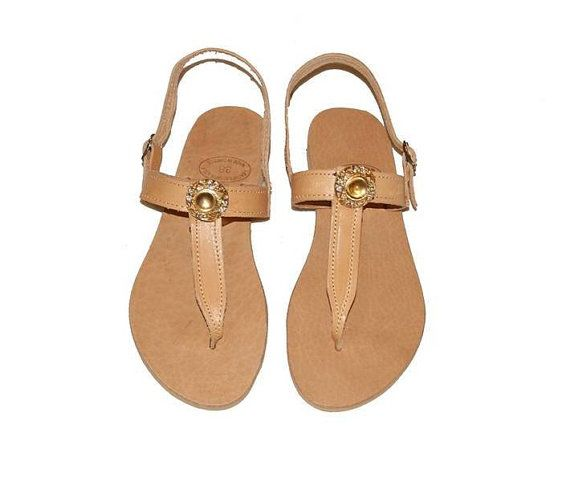 Stone Flat Sandals - T Thin Round Stone Top - Leather Genuine