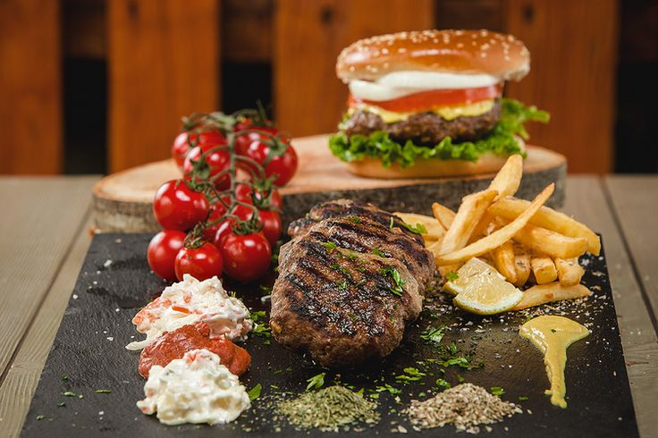 Greek and american food in a greek taverna #food #photoshoot #burger #greek #taverna