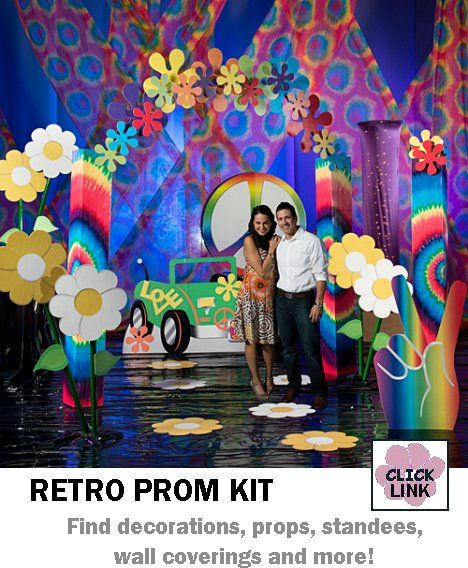 Buy Retro (1960's and 1970's!) themed decorations for proms, homecoming dances and other party events. Available by the piece or as kits. Basic kit starts at $399.00