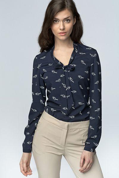 Bluzka+z+wiązaniem+na+dekolcie+b56+-okulary/granat+w+NIFE+Fashion+na+DaWanda.com