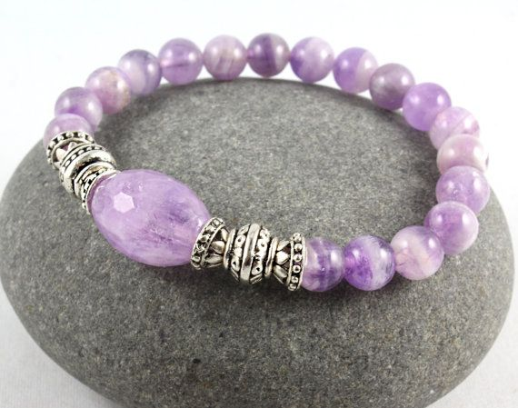 Amethyst Stretch Bracelet Gemstone Stretch by goodmedicinegemstone, $26.00