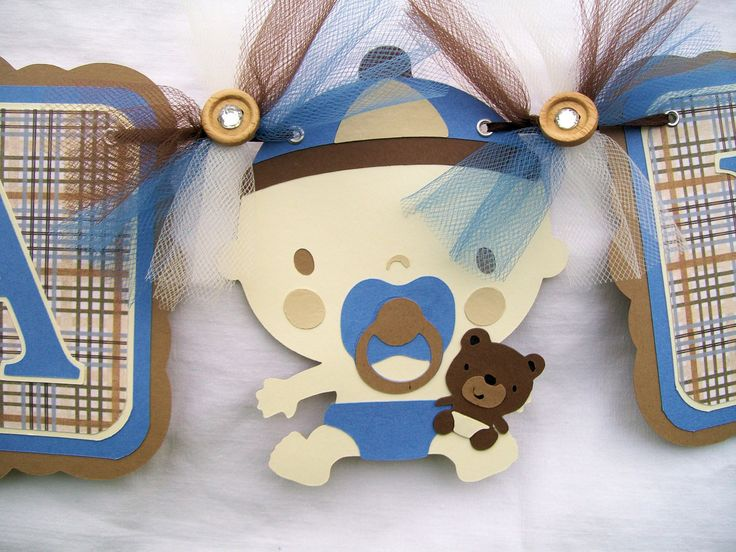 Baby Boy, Teddy Bear, Baby Shower Banner, In Blues And Browns,its