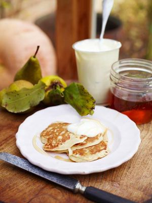 These are the fluffiest, loveliest American-style pancakes ever. My girls ask me for them all the time and I get big brownie points whenever I make them. The recipe couldn't be easier to remember and what's brilliant about it is that it works like a charm every single time. You can have fun with it by switching up the fruit