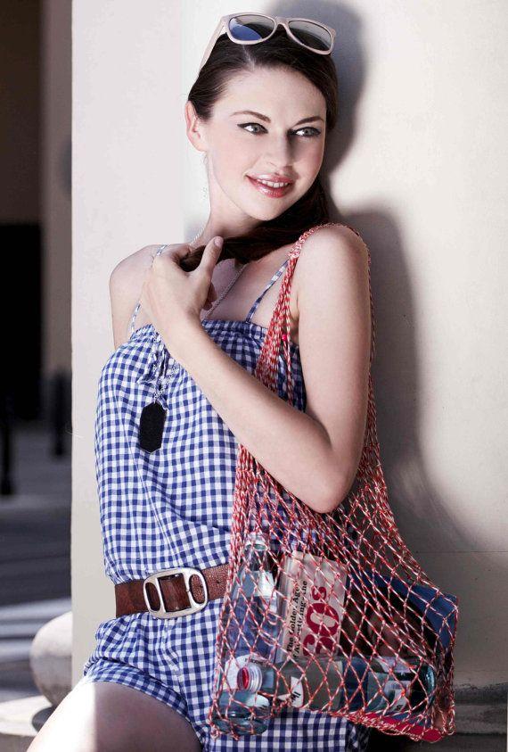 Eko shopping bag-Red-White Vintage bag Avoska String-bag Fashionable handy bag Retro