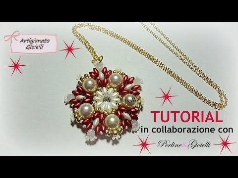 DIY Tutorial Perline - Ciondolo con perle e superduo Red Christmas - YouTube