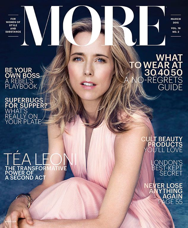 "Téa Leoni Covers More, Talks Divorce and Ex-Husband David Duchovny: ""On Occasion, I Want to Throttle Him""  Tea Leoni, MORE Magazine"