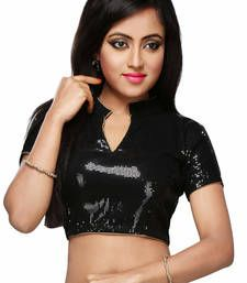 Buy black sequeince fabric semi stitched blouse blouse online