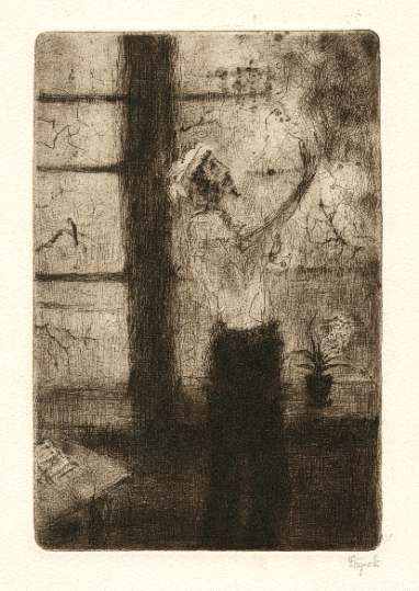 Bohuslav Reynek Don Quijote před smrtí / Don Quijote before the Dead suchá jehla / dry point 20,6 x 13,6 cm, 1955-56, opus G 412