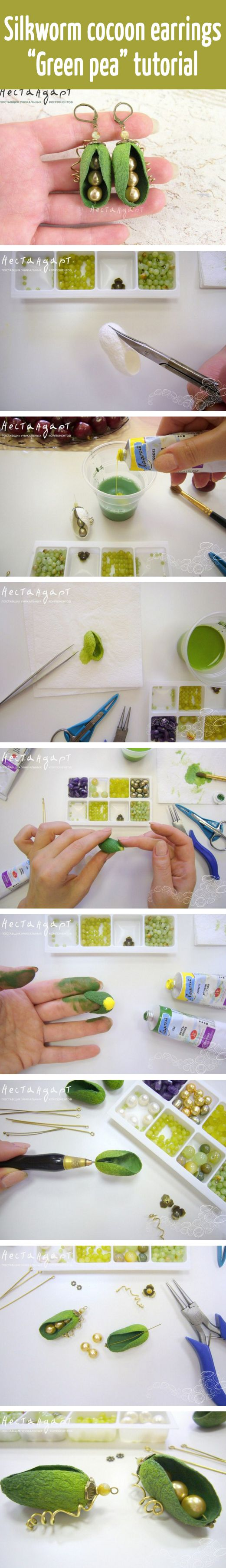 "Silkworm cocoon earrings ""Green pea"" tutorial"
