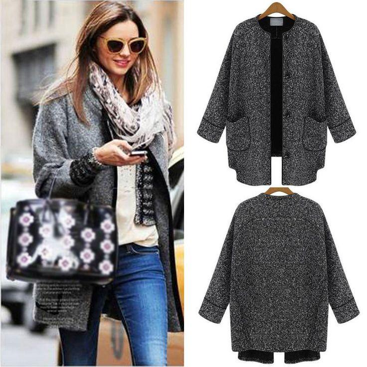 Scoop Long Sleeves Loose Long Wool Coat