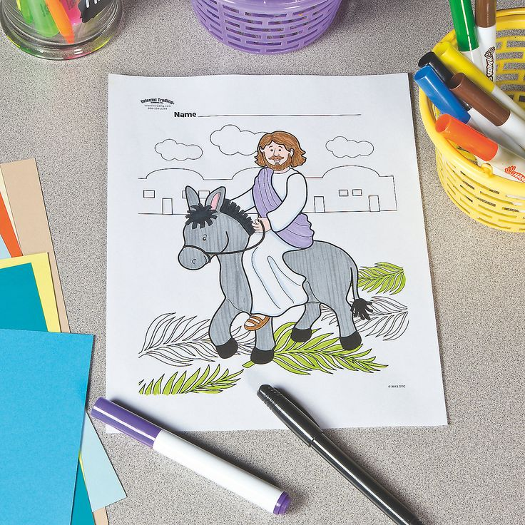 Palm Sunday Free Printable Coloring Page OrientalTrading
