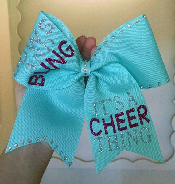 Bows and bling cheer bow by CraftyOhBows on Etsy