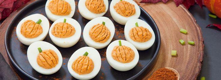 well this is cute. pumpkin deviled eggs.