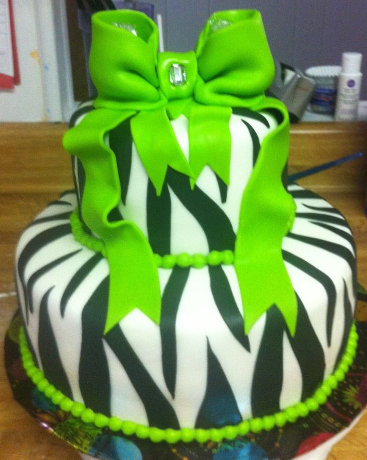Lime green zebra cake cakes i ve made pinterest