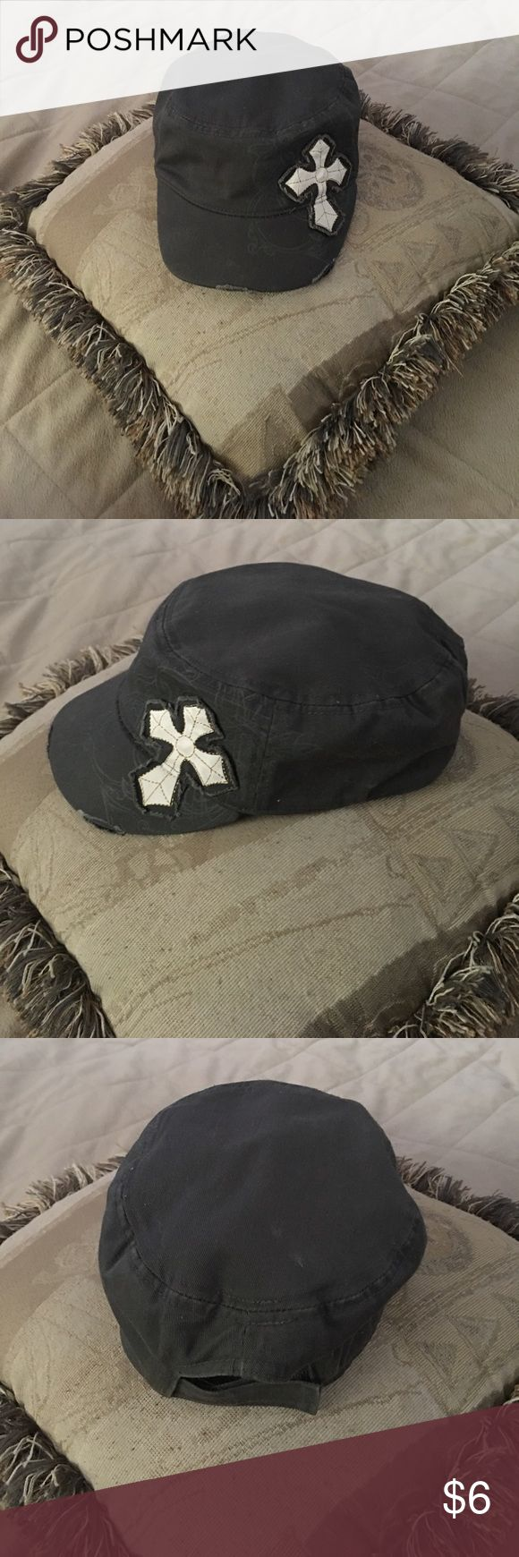 Distressed Cadet Hat With Cross - New 👀 Distressed Cadet Hat With Cross - New 👀 🎓🎩👒👑⛑ purchased @ Lifeway Christian store. I just have to many hats and don't wear them all. 😊 Lifeway  Accessories Hats
