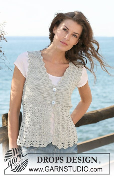 "Crochet DROPS waistcoat with fan pattern in ""Cotton Viscose"". Size XS - XXL."