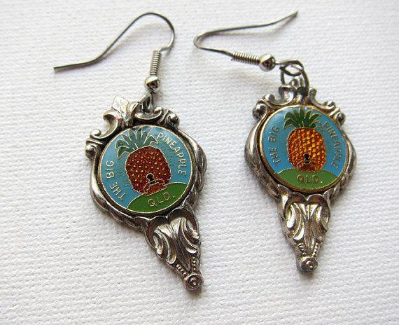Vintage retro big pineapple Queensland silver enamel by evaelena, $24.00