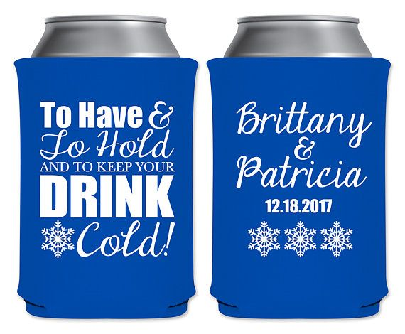 """Neoprene Collapsible Coolers Beverage Insulators Winter Wedding Favors 
