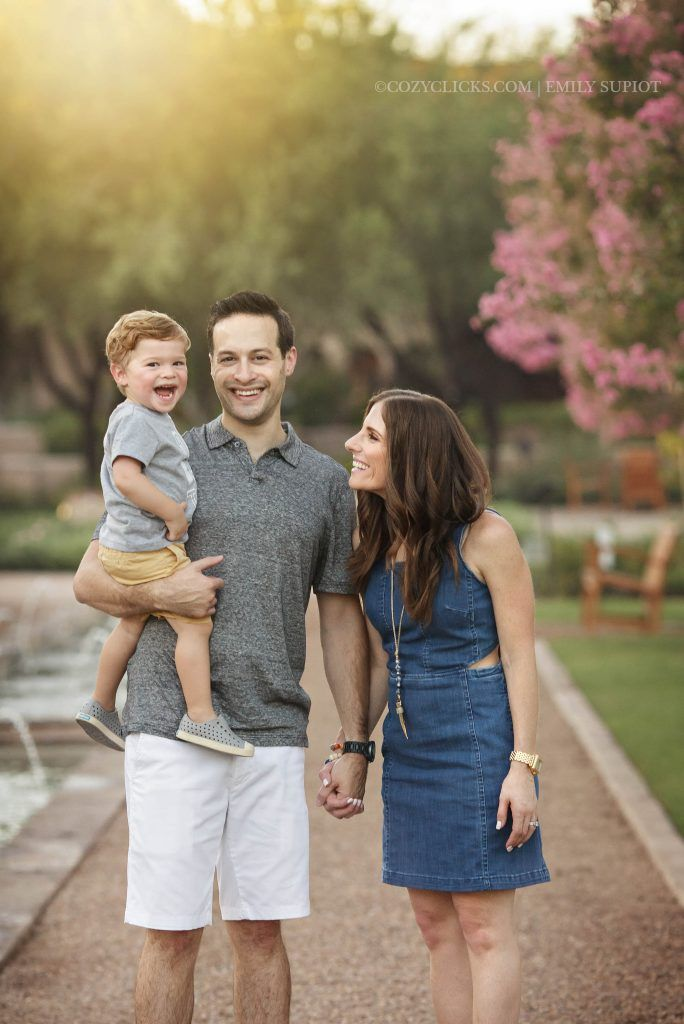 Great unposed family of three family portrait with toddler boy in Scottsdale, AZ
