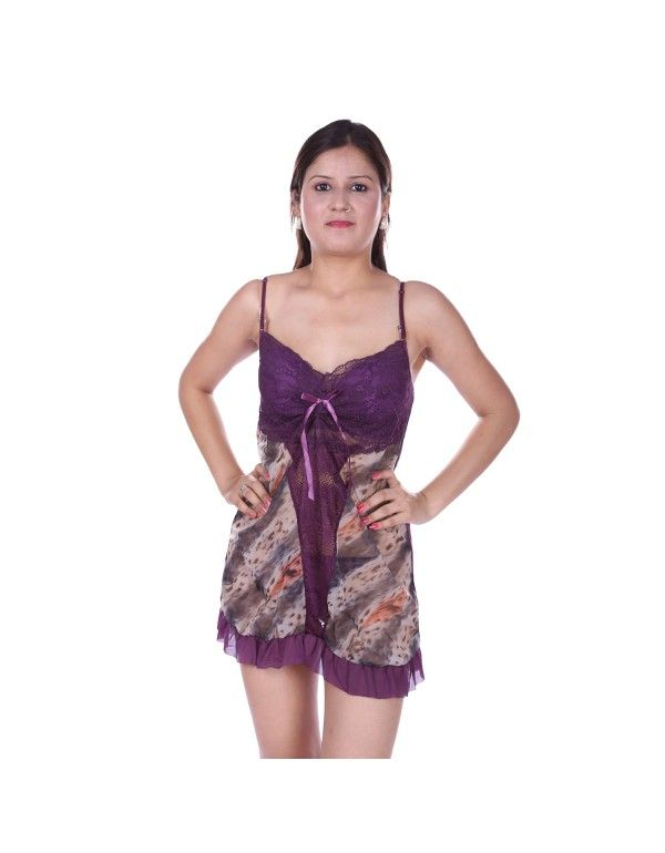Gwyn Designer Purple Froak Type Babydoll Nightwear
