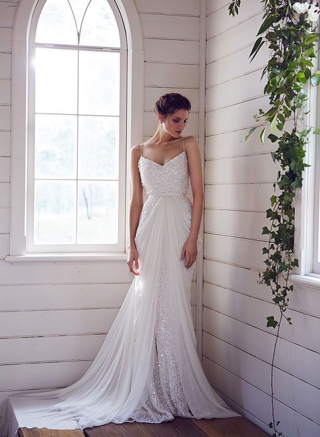 White sequin wedding dress by Karen Willis Holmes